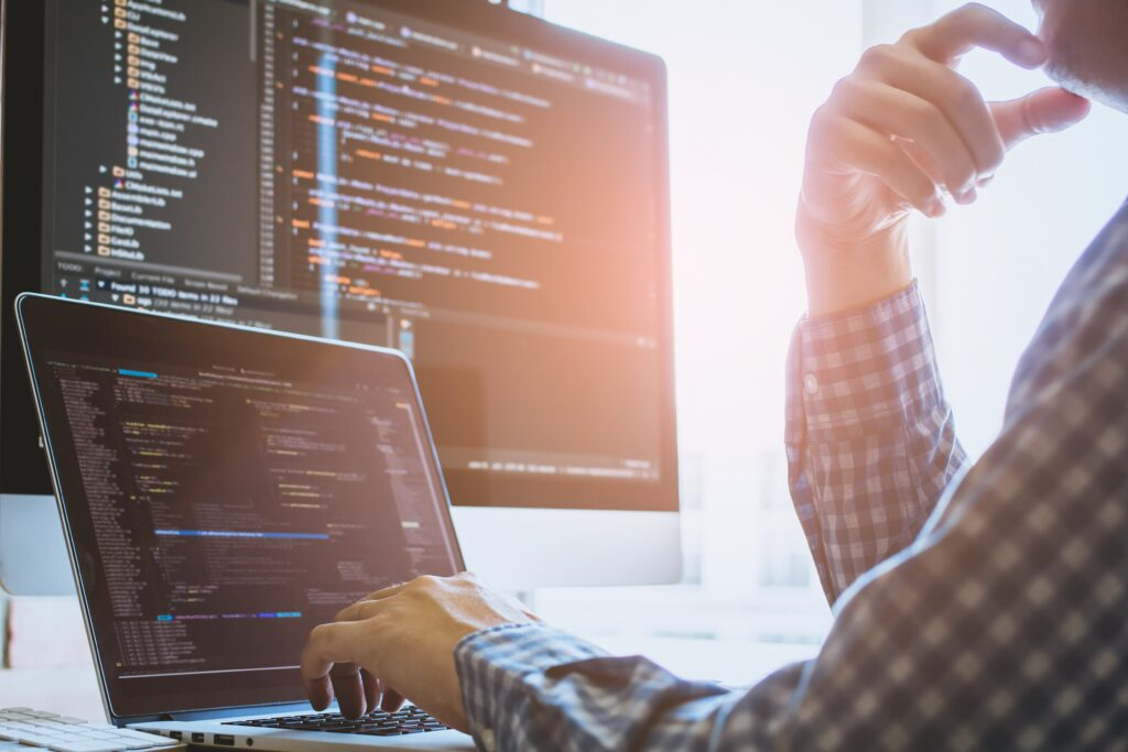 Developer working on code