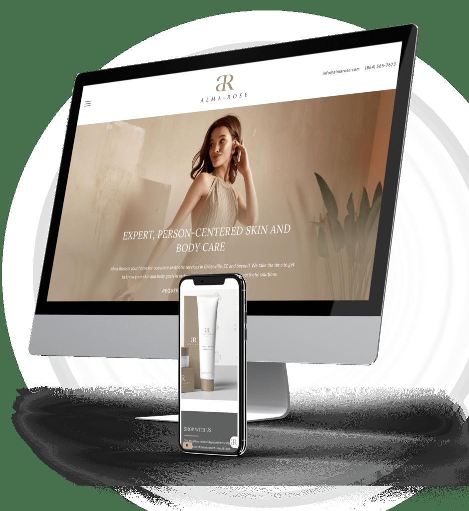 Alma Rose desktop and mobile site