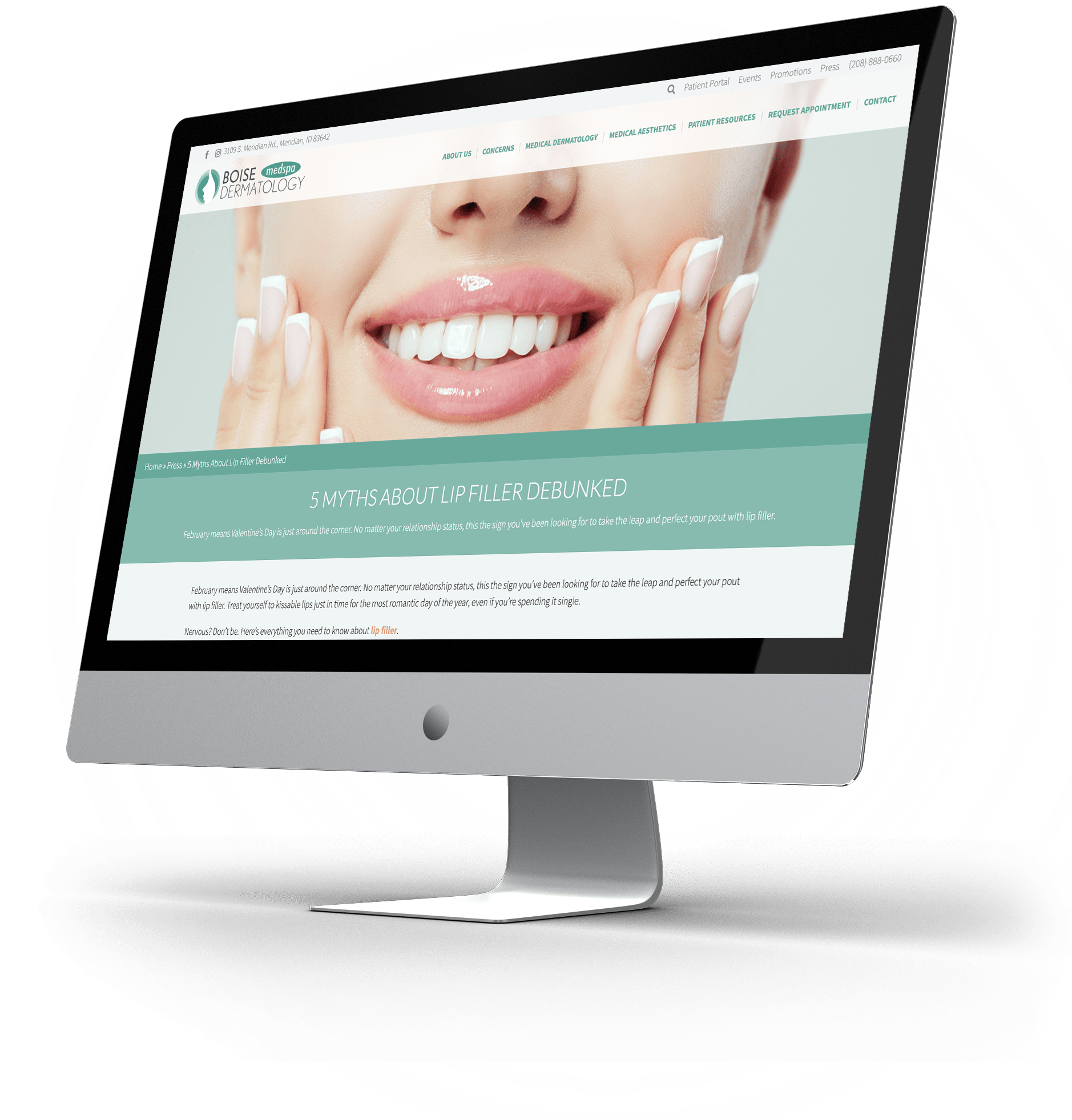 Website example on desktop