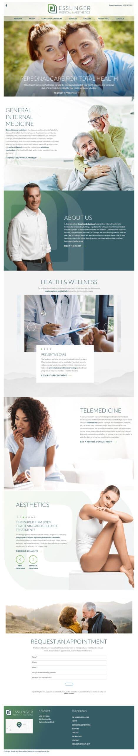 Esslinger Medical & Aesthetics full homepage