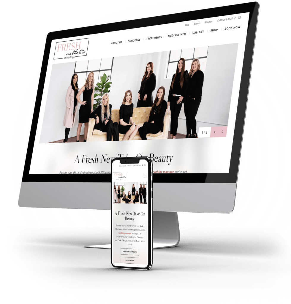 Desktop and mobile website examples