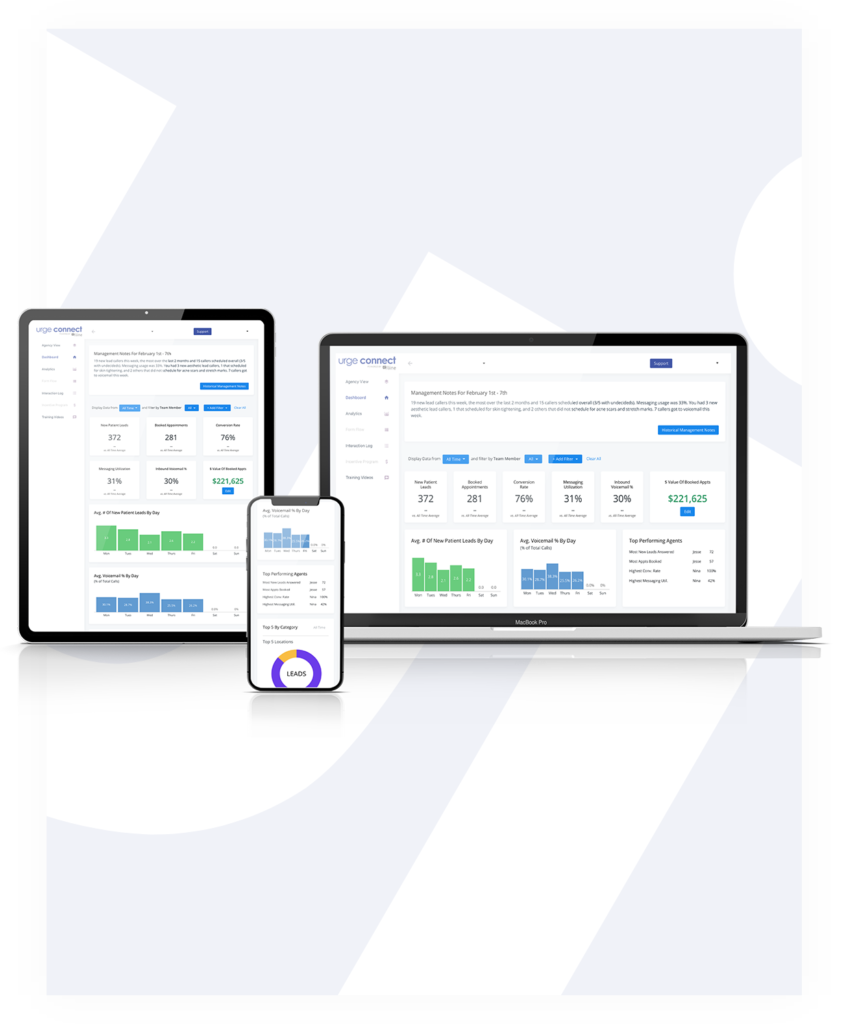 Lead management data on tablet, desktop and mobile