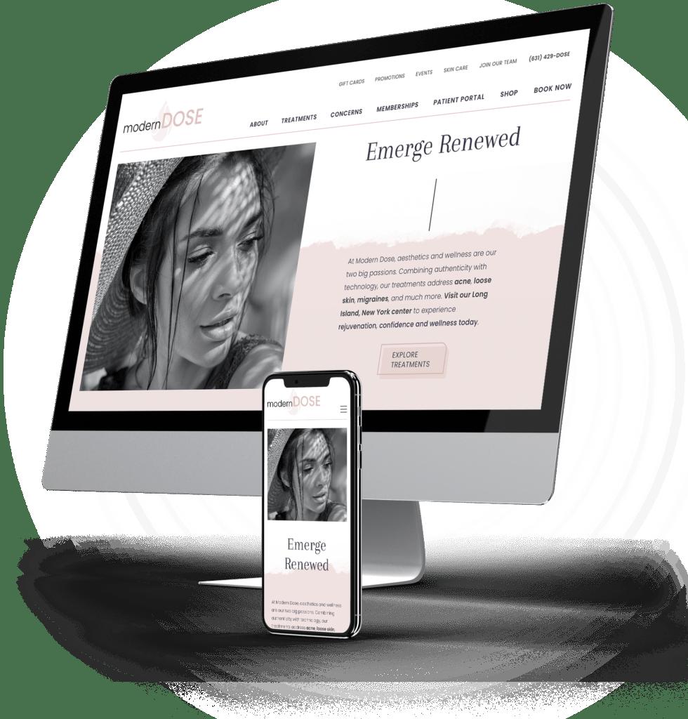 Modern Dose desktop and mobile sites