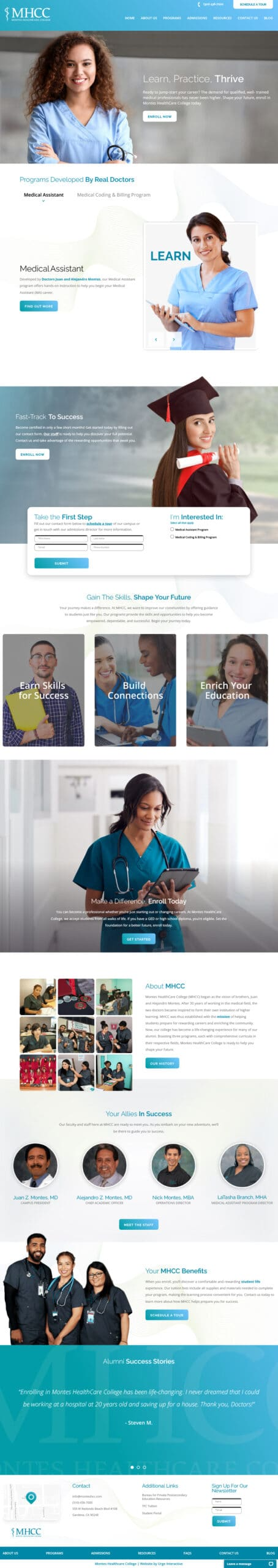 Montes Healthcare College full homepage