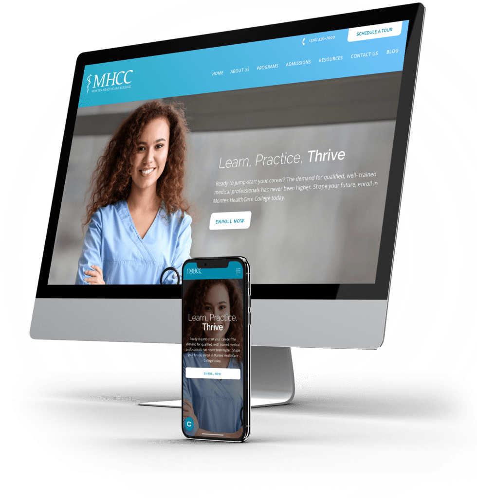 Montes Healthcare College desktop and mobile sites