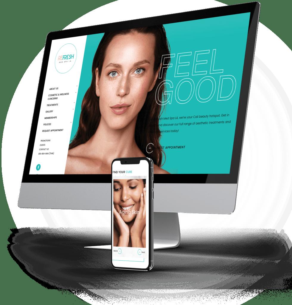 Refresh Med Spa LA desktop and mobile versions